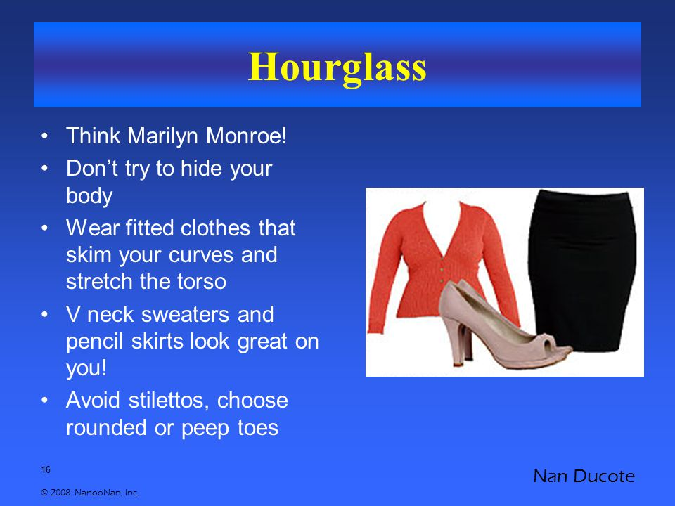 16 © 2008 NanooNan, Inc. Nan Ducote Hourglass Think Marilyn Monroe! Don't try to hide your body Wear fitted clothes that skim your curves and stretch