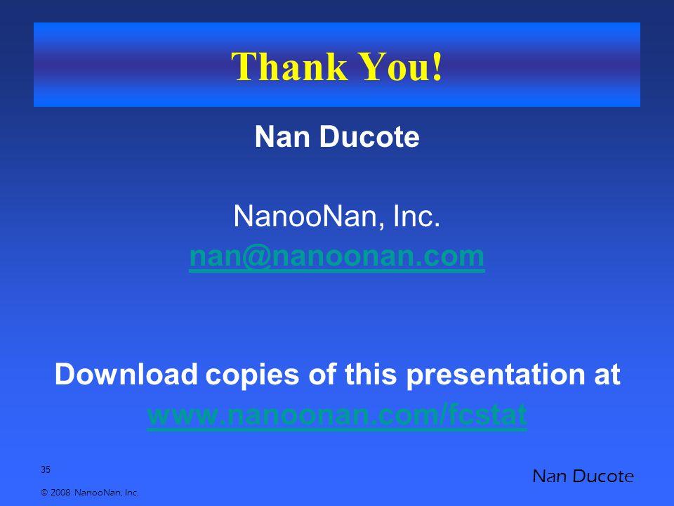 35 © 2008 NanooNan, Inc. Nan Ducote Thank You! Nan Ducote NanooNan, Inc. nan@nanoonan.com Download copies of this presentation at www.nanoonan.com/fcs