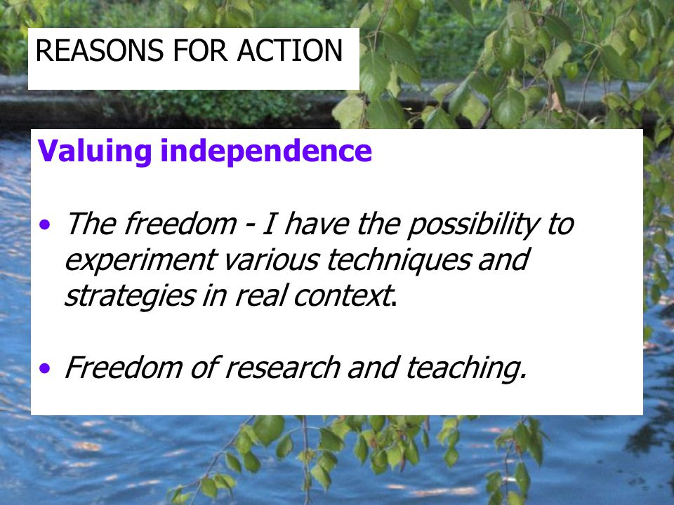 Valuing independence The freedom - I have the possibility to experiment various techniques and strategies in real context.