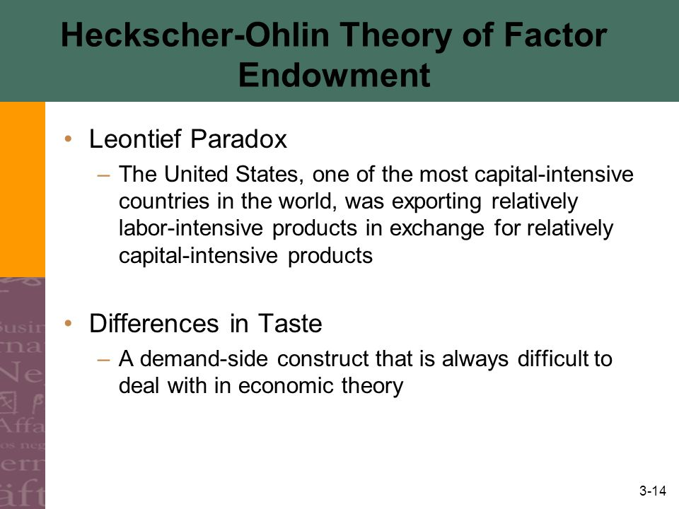 3-14 Heckscher-Ohlin Theory of Factor Endowment Leontief Paradox –The United States, one of the most capital-intensive countries in the world, was exporting relatively labor-intensive products in exchange for relatively capital-intensive products Differences in Taste –A demand-side construct that is always difficult to deal with in economic theory