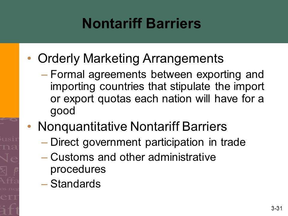 3-31 Nontariff Barriers Orderly Marketing Arrangements –Formal agreements between exporting and importing countries that stipulate the import or export quotas each nation will have for a good Nonquantitative Nontariff Barriers –Direct government participation in trade –Customs and other administrative procedures –Standards