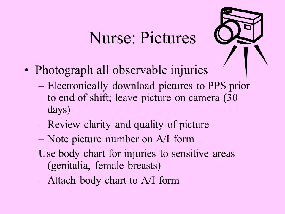 Nurse: Pictures Photograph all observable injuries –Electronically download pictures to PPS prior to end of shift; leave picture on camera (30 days) –Review clarity and quality of picture –Note picture number on A/I form Use body chart for injuries to sensitive areas (genitalia, female breasts) –Attach body chart to A/I form