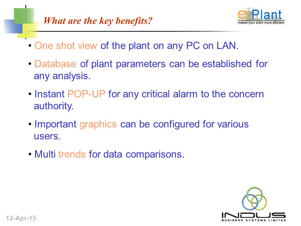 12-Apr-15 What are the key benefits. One shot view of the plant on any PC on LAN.