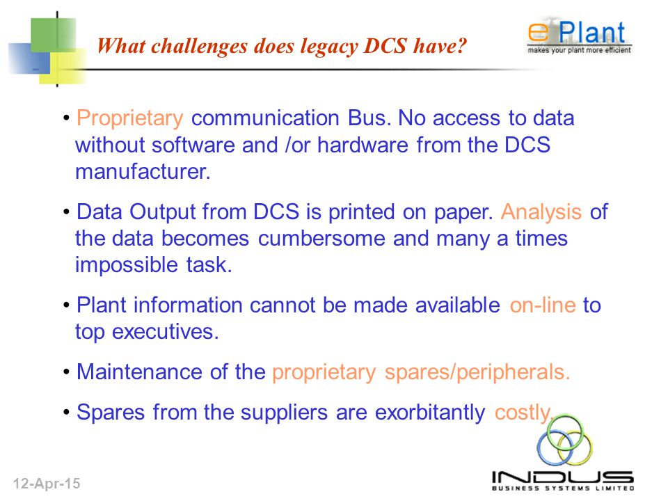 12-Apr-15 What challenges does legacy DCS have. Proprietary communication Bus.
