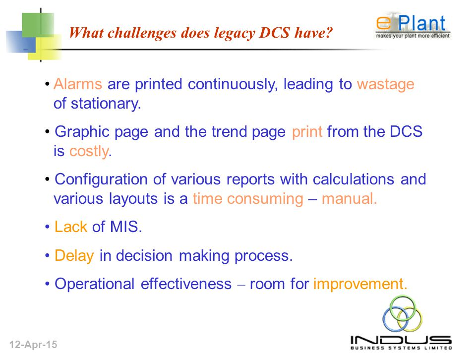12-Apr-15 What challenges does legacy DCS have.