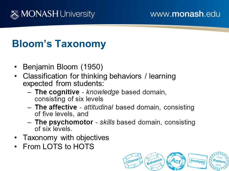 Bloom's Taxonomy Benjamin Bloom (1950) Classification for thinking behaviors / learning expected from students: –The cognitive - knowledge based domain, consisting of six levels –The affective - attitudinal based domain, consisting of five levels, and –The psychomotor - skills based domain, consisting of six levels.