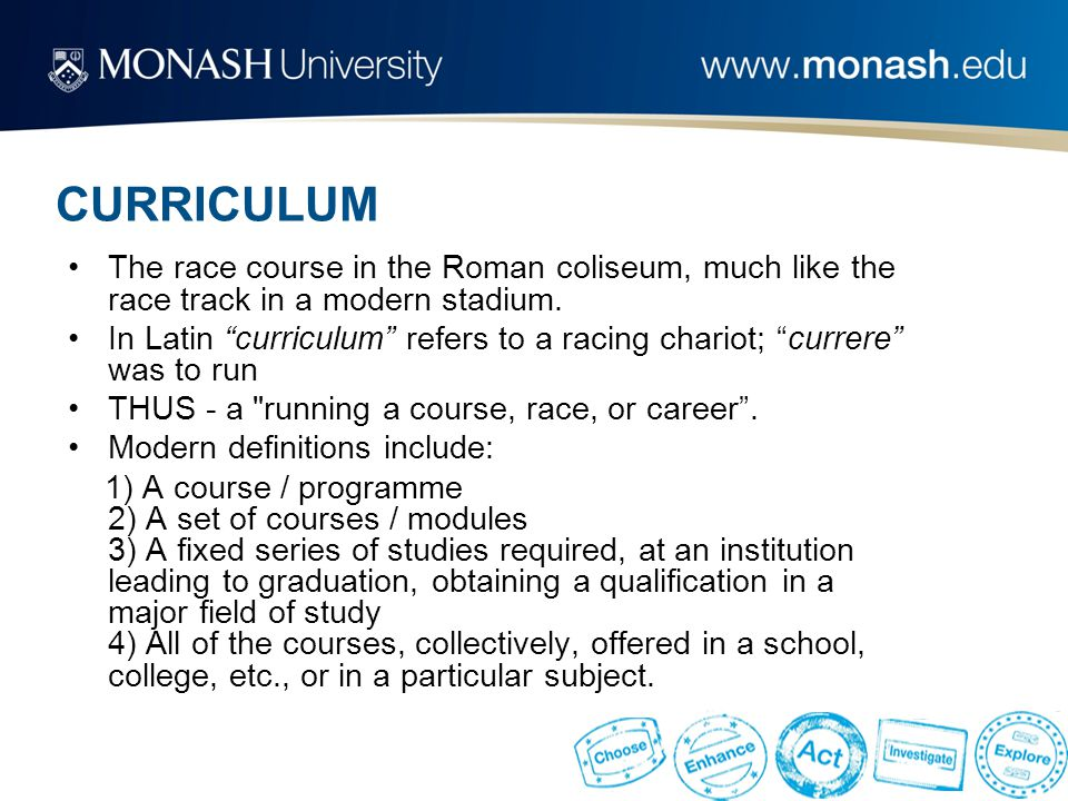 "CURRICULUM The race course in the Roman coliseum, much like the race track in a modern stadium. In Latin ""curriculum"" refers to a racing chariot; ""cur"