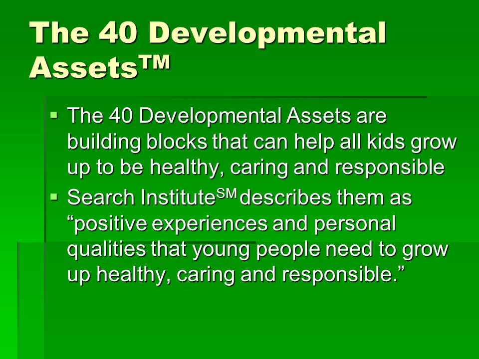 The 40 Developmental Assets TM  The 40 Developmental Assets are building blocks that can help all kids grow up to be healthy, caring and responsible