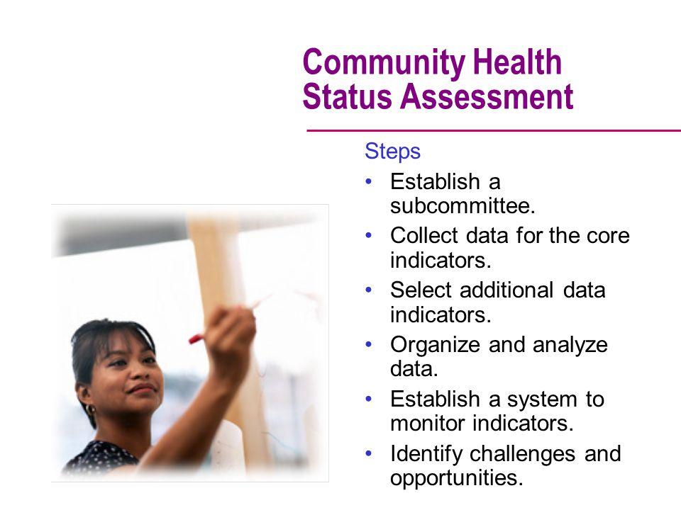 Community Health Status Assessment Steps Establish a subcommittee.