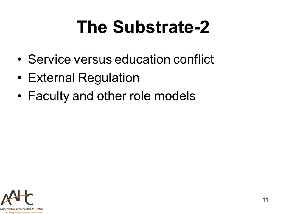 11 The Substrate-2 Service versus education conflict External Regulation Faculty and other role models