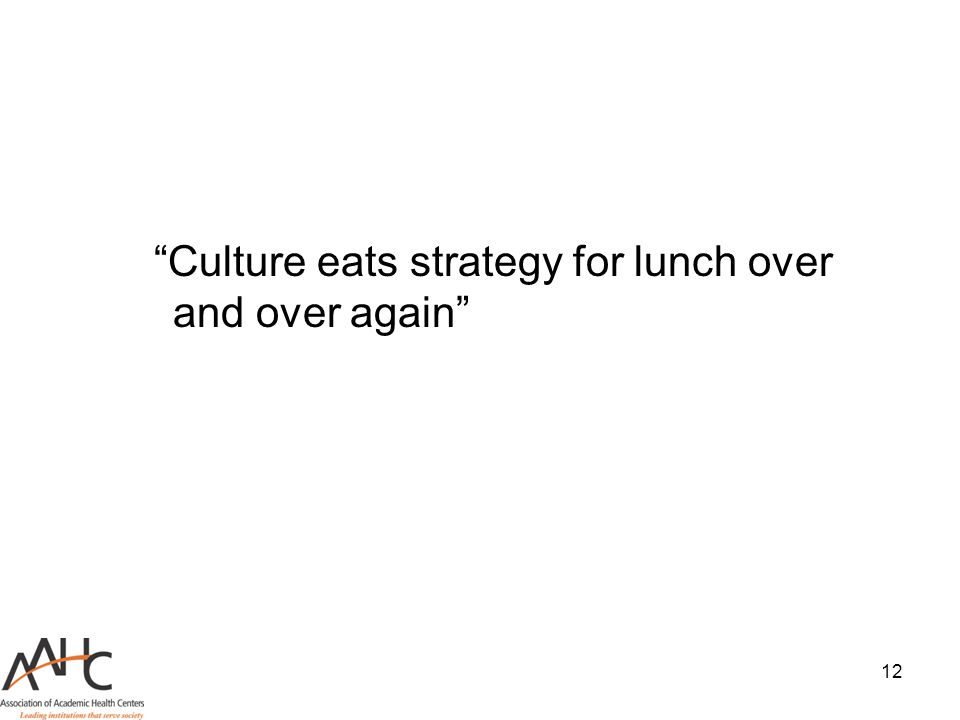 "12 ""Culture eats strategy for lunch over and over again"""