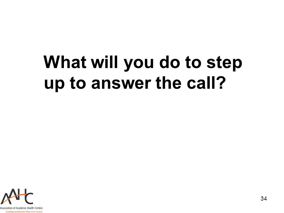 34 What will you do to step up to answer the call?