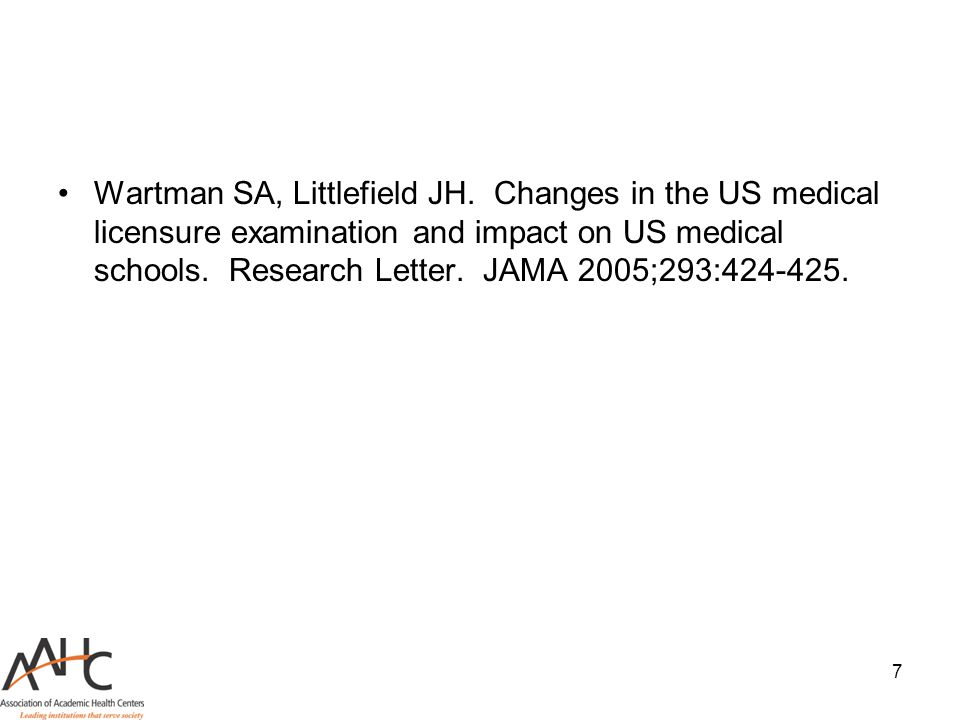 7 Wartman SA, Littlefield JH. Changes in the US medical licensure examination and impact on US medical schools. Research Letter. JAMA 2005;293:424-425