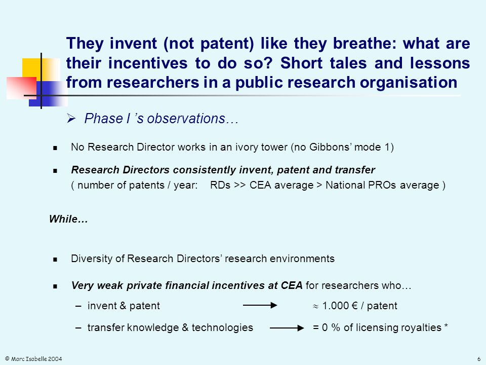 © Marc Isabelle 20046  Phase I 's observations… They invent (not patent) like they breathe: what are their incentives to do so.
