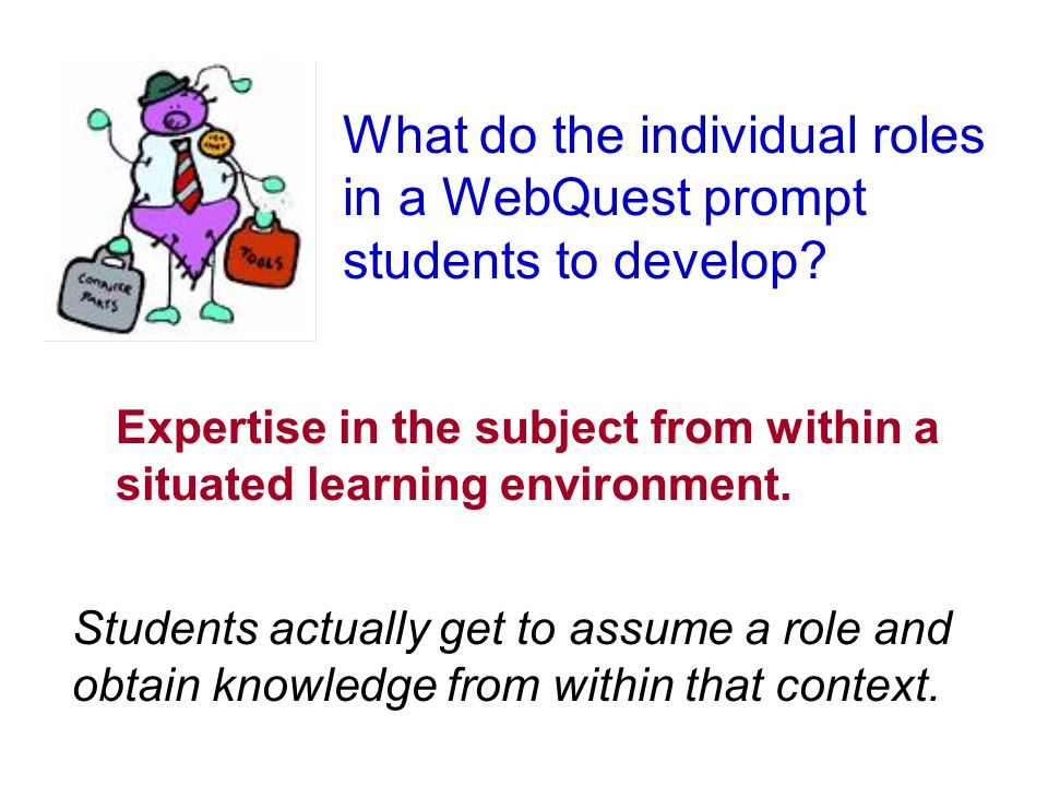 What do the individual roles in a WebQuest prompt students to develop.