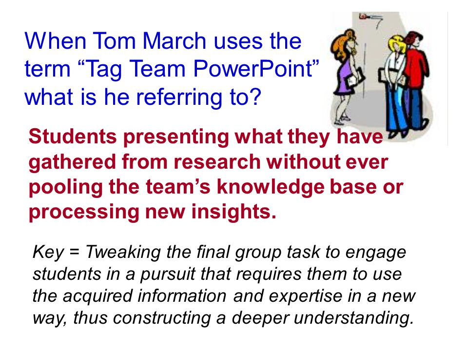 When Tom March uses the term Tag Team PowerPoint what is he referring to.
