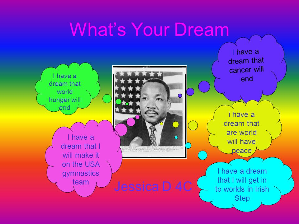 What's Your Dream Jessica D 4C I have a dream that cancer will end I have a dream that world hunger will end i have a dream that are world will have p
