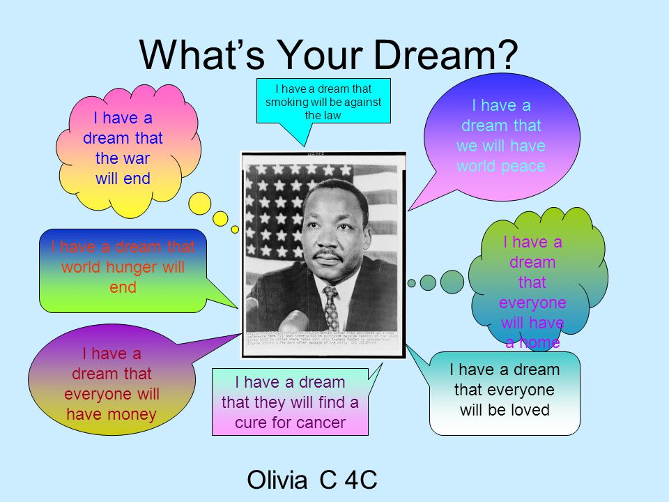 What's Your Dream? Olivia C 4C I have a dream that we will have world peace I have a dream that the war will end I have a dream that world hunger will