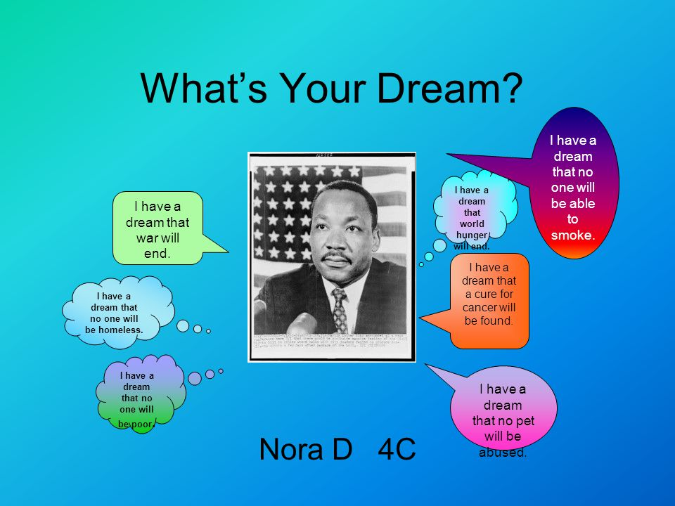 What's Your Dream? Nora D 4C I have a dream that world hunger will end. I have a dream that war will end. I have a dream that a cure for cancer will b