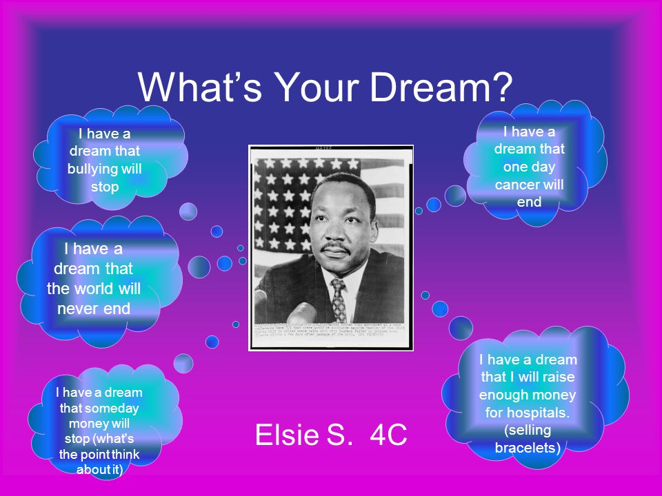 What's Your Dream? Elsie S. 4C I have a dream that one day cancer will end I have a dream that I will raise enough money for hospitals. (selling brace