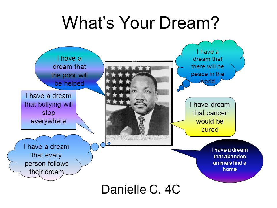 What's Your Dream? Danielle C. 4C I have a dream that there will be peace in the world I have a dream that the poor will be helped I have dream that c