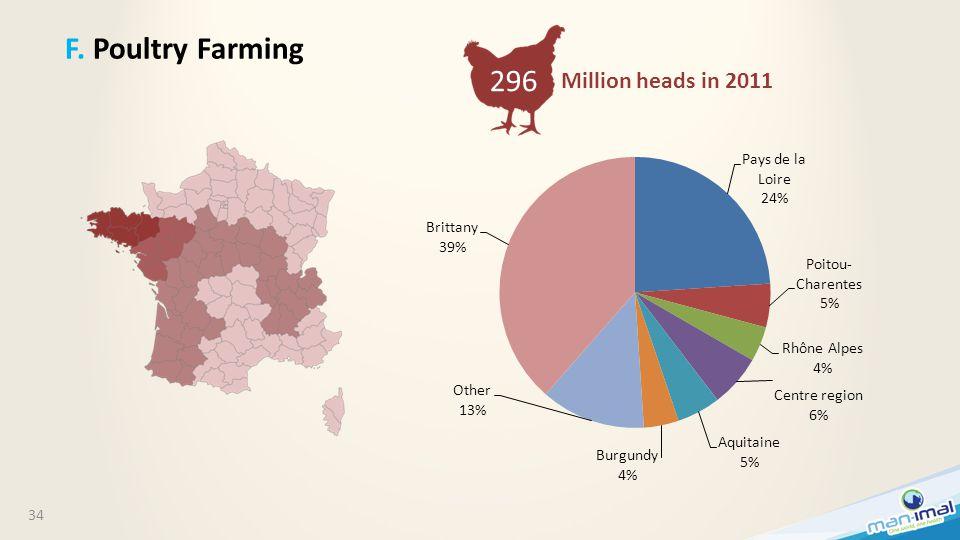 34 F. Poultry Farming Million heads in 2011 296