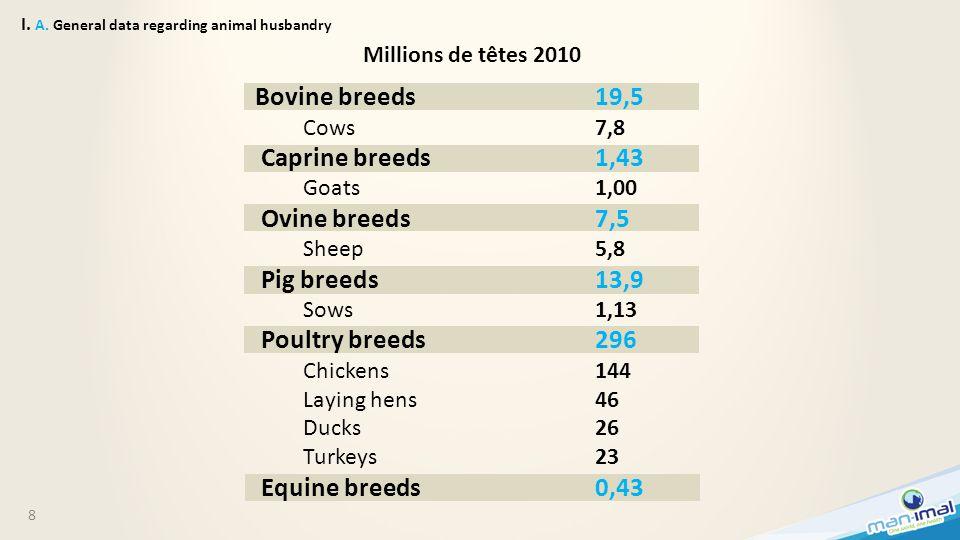 I. A. General data regarding animal husbandry Bovine breeds Cows Caprine breeds Goats Ovine breeds Sheep Pig breeds Sows Poultry breeds Chickens Layin