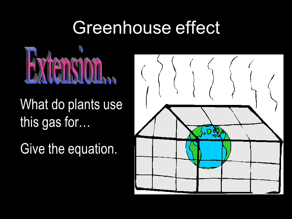 Greenhouse effect What do plants use this gas for… Give the equation.