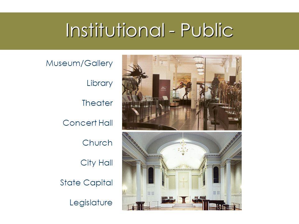 Institutional Design Government Banks Military Correctional Universities K-12 Schools Religious