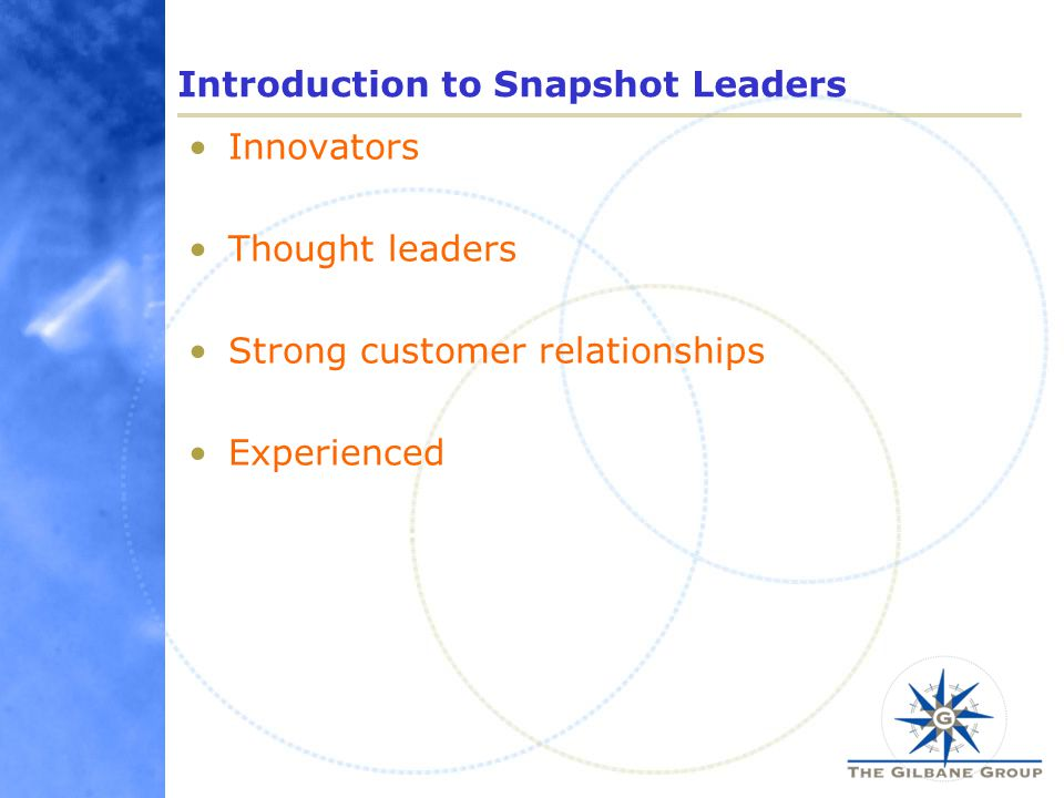 Introduction to Snapshot Leaders Innovators Thought leaders Strong customer relationships Experienced