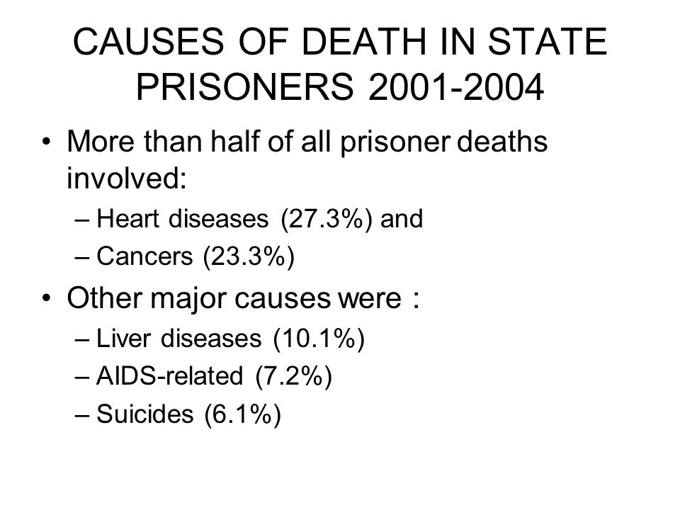 CAUSES OF DEATH IN STATE PRISONERS 2001-2004 More than half of all prisoner deaths involved: –Heart diseases (27.3%) and –Cancers (23.3%) Other major causes were : –Liver diseases (10.1%) –AIDS-related (7.2%) –Suicides (6.1%)