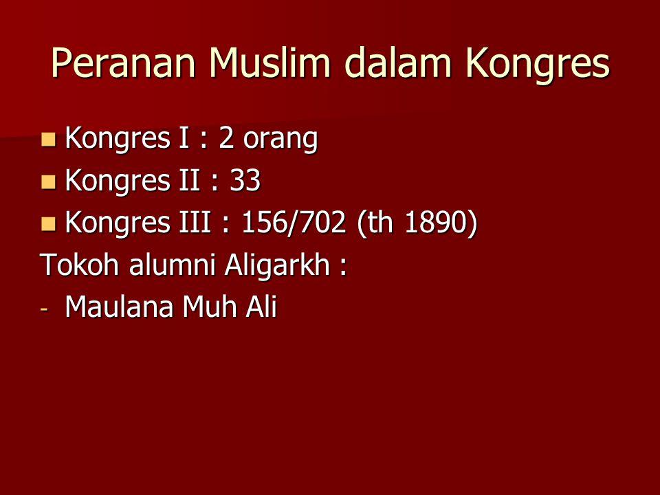 Peranan Muslim dalam Kongres Kongres I : 2 orang Kongres I : 2 orang Kongres II : 33 Kongres II : 33 Kongres III : 156/702 (th 1890) Kongres III : 156/702 (th 1890) Tokoh alumni Aligarkh : - Maulana Muh Ali