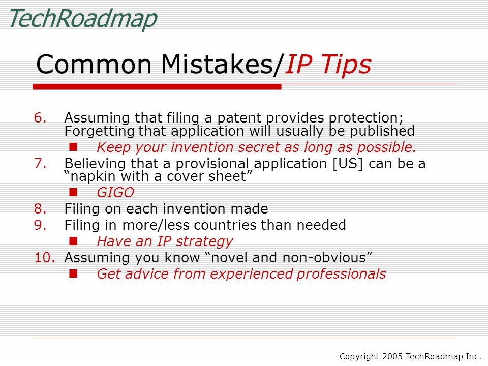 TechRoadmap Copyright 2005 TechRoadmap Inc.