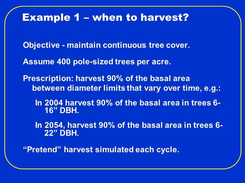 Example 1 – FVS Measures Year Trees /Acre Basal Area/ Acre Total Bd Ft /Acre Accretion Cu Ft/ Acre/Yr Mortality Cu Ft/ Acre/Yr Harvest Bd Ft /Acre 200440012719,3001222411,112 201430514824,7651243214,177 202424116629,8361184316,545 203419717934,6181245718,825 204416318839,0361236018,575 205413919543,1621246624,831 206412020147,3171117231,156 207410520350,6861088137,591 2084 9220252,9931048139,669 2094 8120155,724 988244,833