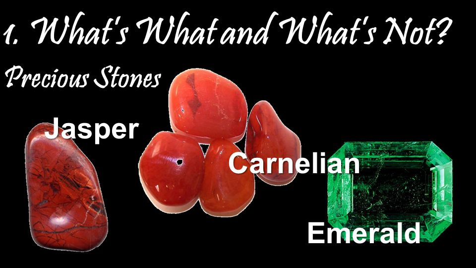 1. What's What and What's Not Precious Stones Jasper Carnelian Emerald