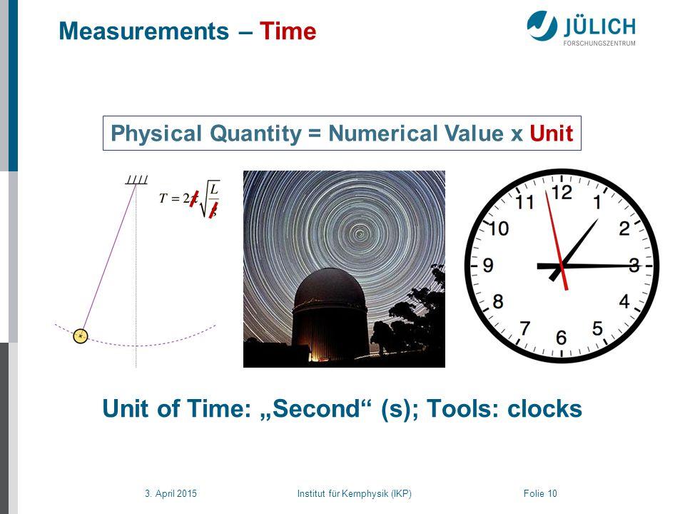 """3. April 2015 Institut für Kernphysik (IKP) Folie 10 Measurements – Time Physical Quantity = Numerical Value x Unit Unit of Time: """"Second"""" (s); Tools:"""