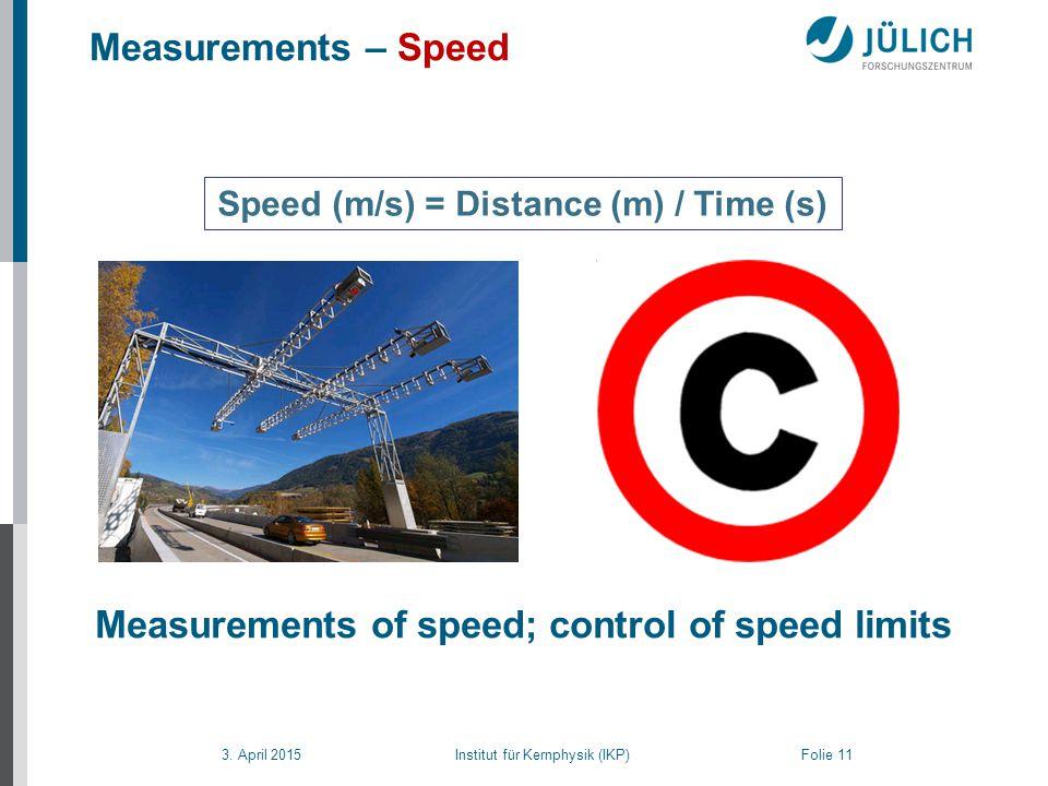 3. April 2015 Institut für Kernphysik (IKP) Folie 11 Measurements – Speed Measurements of speed; control of speed limits Speed (m/s) = Distance (m) /
