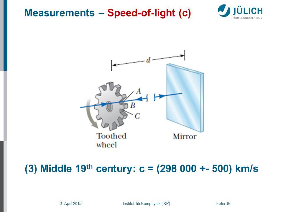 3. April 2015 Institut für Kernphysik (IKP) Folie 16 Measurements – Speed-of-light (c) (3) Middle 19 th century: c = (298 000 +- 500) km/s