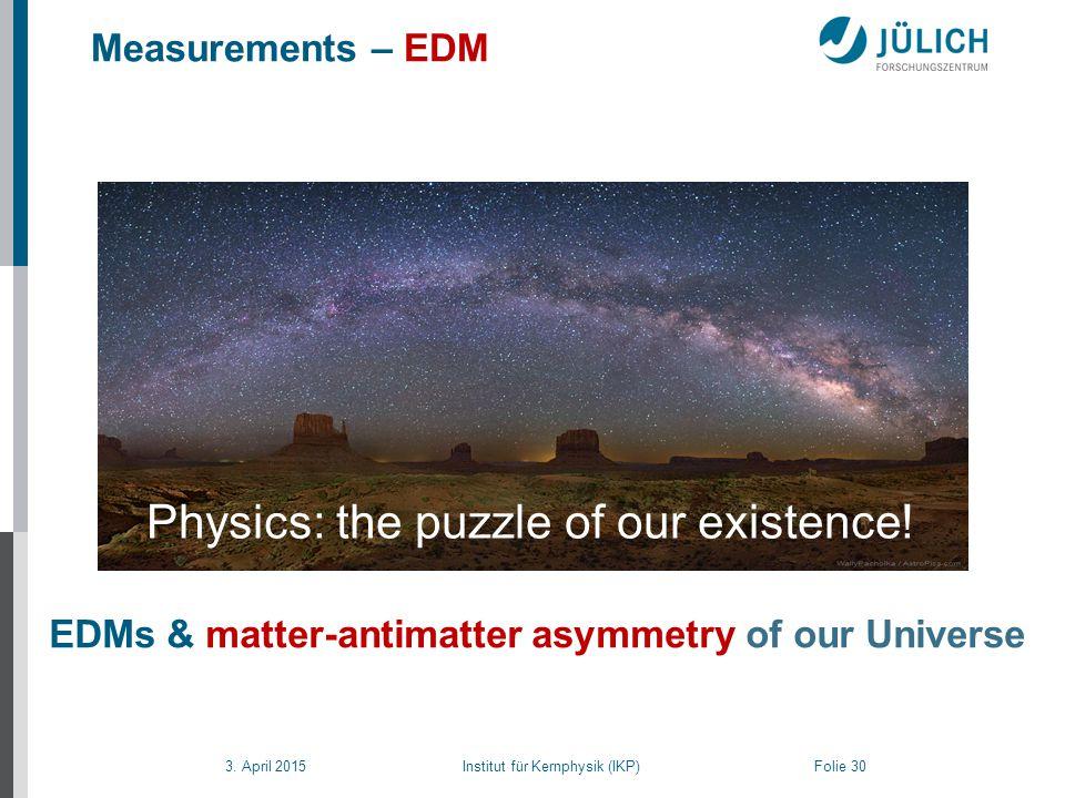 3. April 2015 Institut für Kernphysik (IKP) Folie 30 Measurements – EDM EDMs & matter-antimatter asymmetry of our Universe Physics: the puzzle of our
