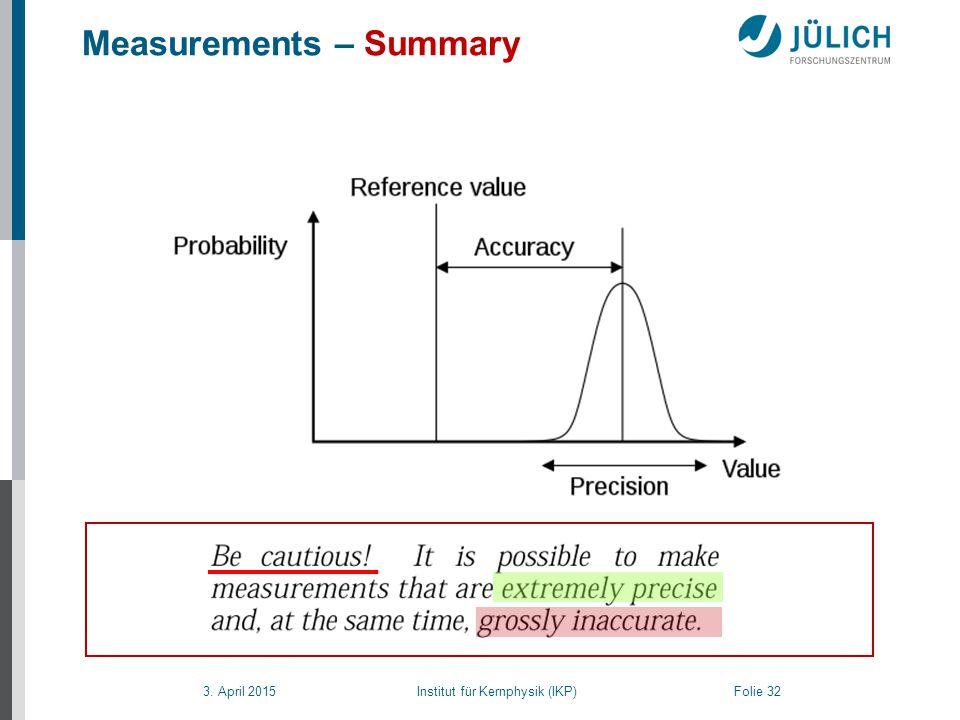 3. April 2015 Institut für Kernphysik (IKP) Folie 32 Accuracy, Precision, Error and Uncertainty Measurements – Summary