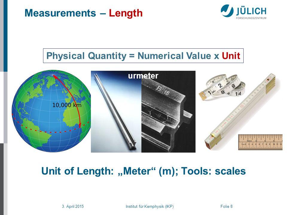 """3. April 2015 Institut für Kernphysik (IKP) Folie 8 Measurements – Length Physical Quantity = Numerical Value x Unit Unit of Length: """"Meter"""" (m) urmet"""