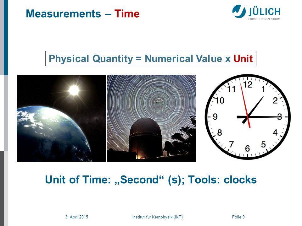 """3. April 2015 Institut für Kernphysik (IKP) Folie 9 Measurements – Time Physical Quantity = Numerical Value x Unit Unit of Time: """"Second"""" (s); Tools:"""