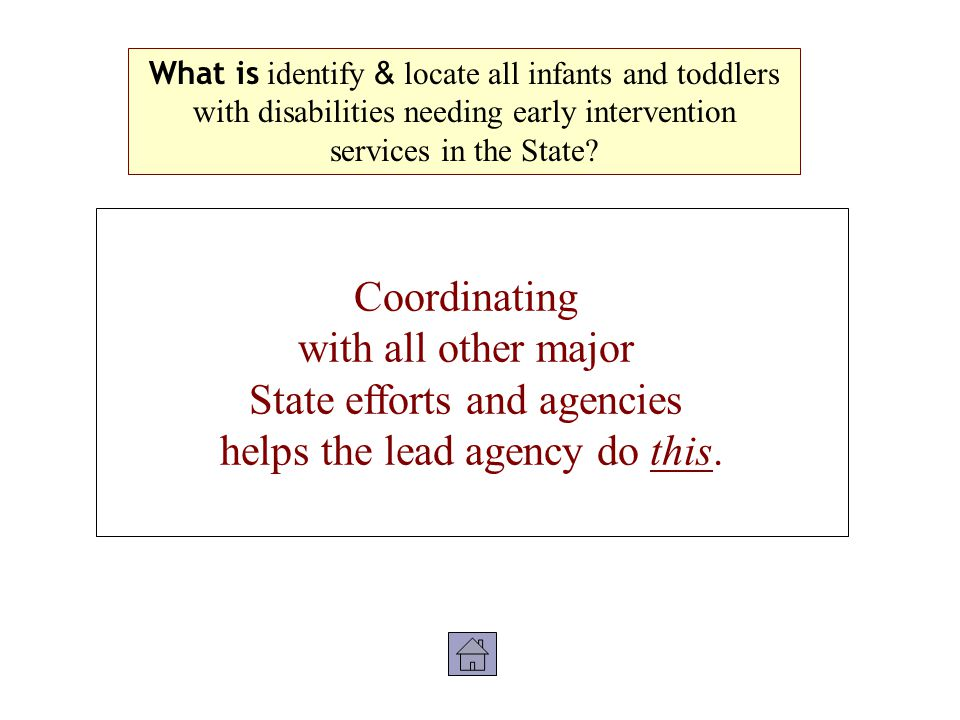 Coordinating with all other major State efforts and agencies helps the lead agency do this.