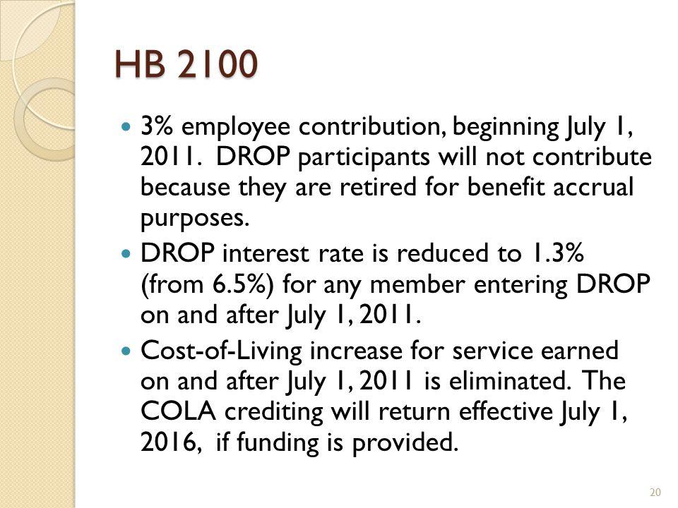 HB 2100 3% employee contribution, beginning July 1, 2011.