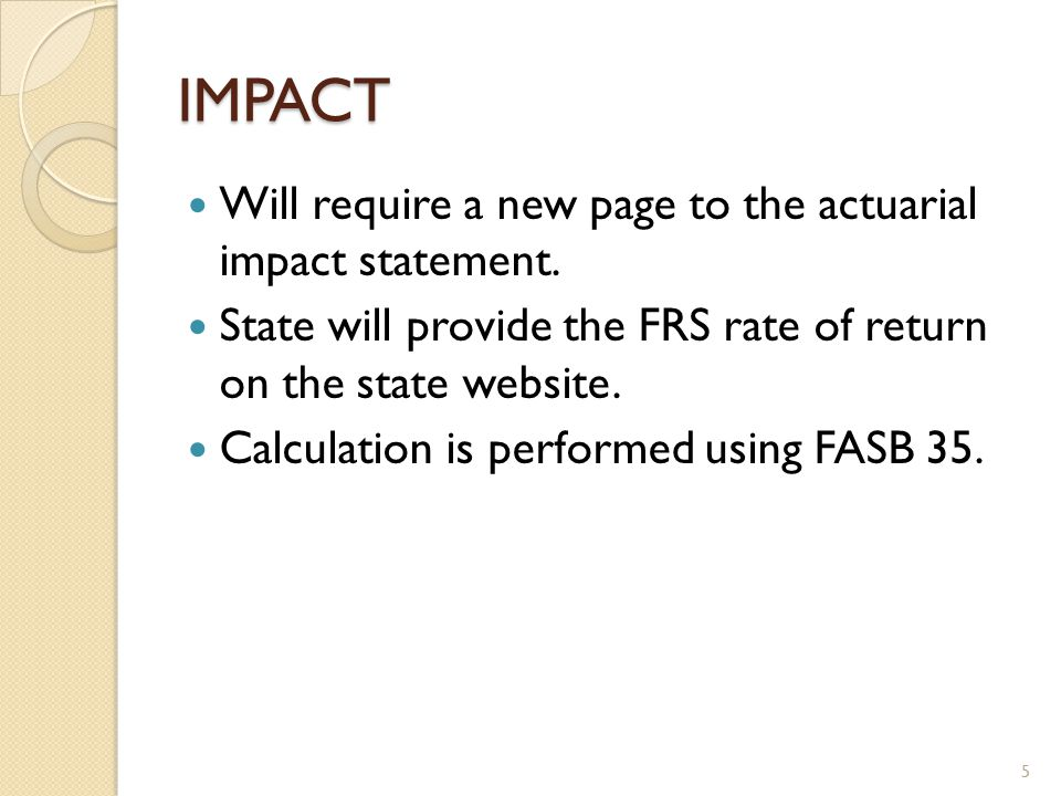 IMPACT Will require a new page to the actuarial impact statement.