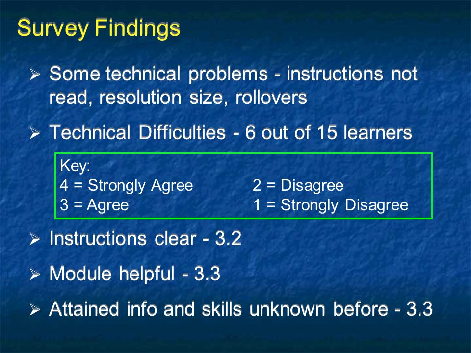 Survey Findings  Some technical problems - instructions not read, resolution size, rollovers  Technical Difficulties - 6 out of 15 learners  Instru