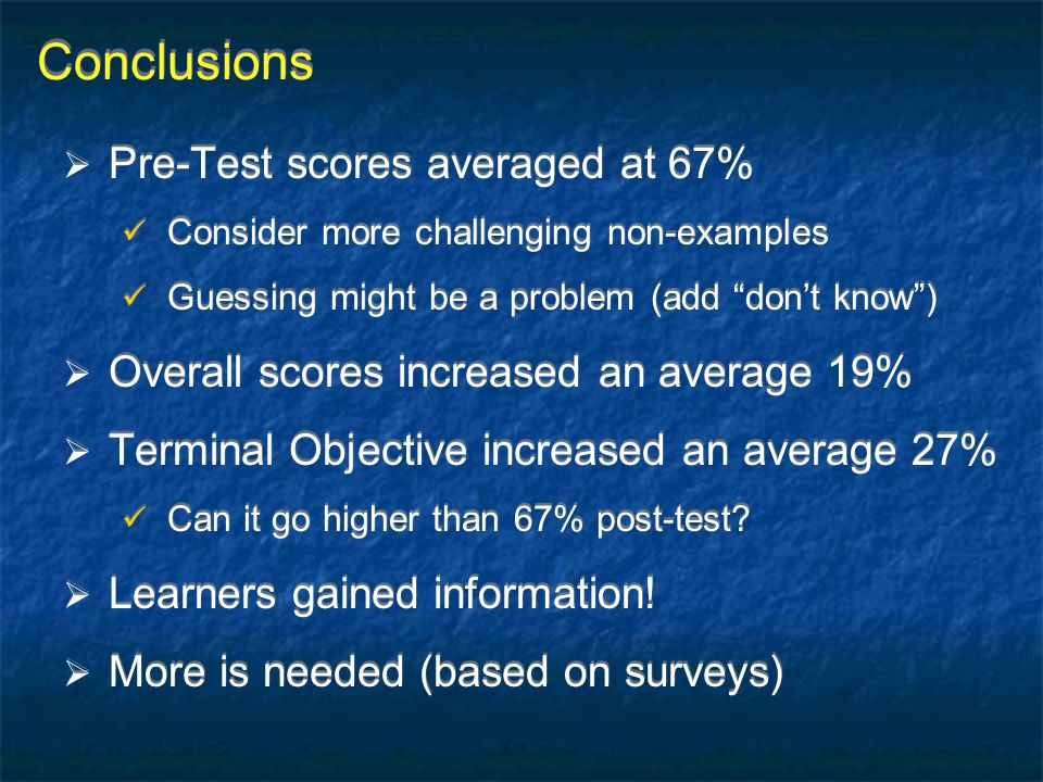 "Conclusions  Pre-Test scores averaged at 67% Consider more challenging non-examples Guessing might be a problem (add ""don't know"")  Overall scores i"