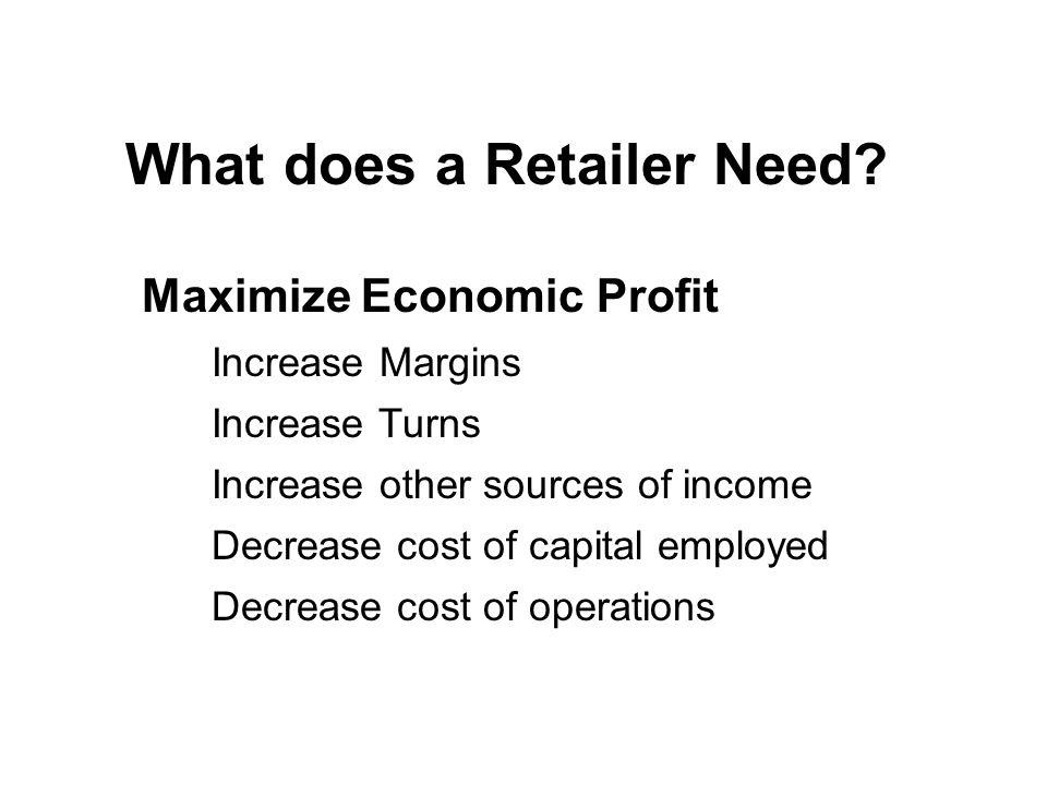 Maximize Economic Profit What does a Retailer Need.