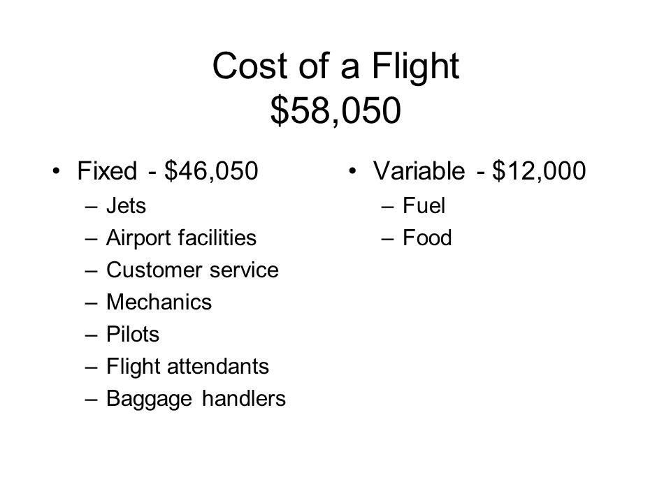 Cost of a Flight $58,050 Fixed - $46,050 –Jets –Airport facilities –Customer service –Mechanics –Pilots –Flight attendants –Baggage handlers Variable - $12,000 –Fuel –Food