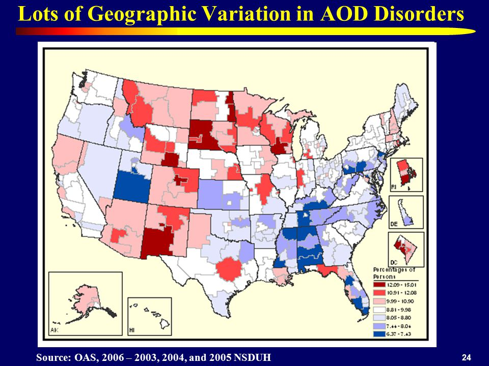 24 Lots of Geographic Variation in AOD Disorders Source: OAS, 2006 – 2003, 2004, and 2005 NSDUH